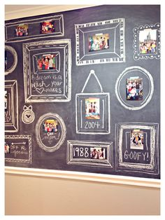 Chalkboard wall with chalk board paint; draw picture frames around photographs photos; by i am doe blogspot; Upcycle, Recycle, Salvage, diy, thrift, flea, repurpose, refashion! For vintage ideas and goods shop at Estate ReSale & ReDesign, Bonita Springs, FL