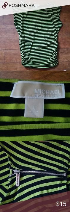Michael Kors green and black stripe top Gently used Michael Kors size large top of shoulders have zippers that detach the arm. Michael Kors Tops