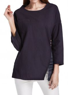 Round Neck Long Sleeve Striped Navy Blue Blouse  with cheap wholesale price, buy Round Neck Long Sleeve Striped Navy Blue Blouse  at Rotita.com !