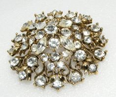 Vintage Lisner Clear Rhinestone Brooch Pin Costume Jewelry Signed | eBay
