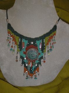 Turquoise Peruvian Pin Woven Necklace 732 via Etsy