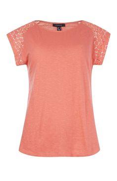 Primark - Camiseta color coral con manga ganchillo