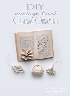 Beautiful DIY vintage book Christmas ornaments from We Lived Happily Ever After. Old Book Crafts, Book Page Crafts, All Things Christmas, Vintage Christmas, Christmas Holidays, Christmas Decor, Diy Vintage Books, Paper Christmas Ornaments, Crafts To Make