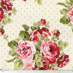 Shabby Chic Floral Fabric with Flowers By the Yard, Quarter Yard, Fat Quarter Pink & Sage Green Cream Cotton Quilting Fabric t2-14