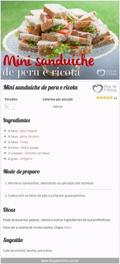 Mini sanduíche de peru e ricota - Blog da Mimis #receita #dieta #alimentação #emagrecer #blogdamimis