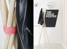DIY coat rack - would be fabulous with leather to bind the poles