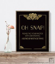Great Gatsby Hashtag Sign / Instagram Sign / Art Deco, Roaring Twenties, 1920s / Black and Gold ▷ Printable File {or} Printed & Shipped is available at $20.00 https://www.etsy.com/listing/497644746/great-gatsby-hashtag-sign-instagram-sign?utm_source=mento&utm_medium=api&utm_campaign=api #weddings #decoration