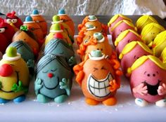 Mr. Men Easter eggs. I think they are actually marzipan or similar, but you could use a real egg.
