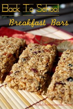 Back To School Breakfast Bars - My Kitchen Escapades, I would substitute a few things to make them I tiny bit healthier but these look great.