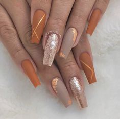 In seek out some nail designs and ideas for your nails? Here is our listing of must-try coffin acrylic nails for stylish women. Perfect Nails, Fabulous Nails, Gorgeous Nails, Fall Nail Art Designs, Acrylic Nail Designs, Orange Nail Designs, Cute Nails, Pretty Nails, Hair And Nails