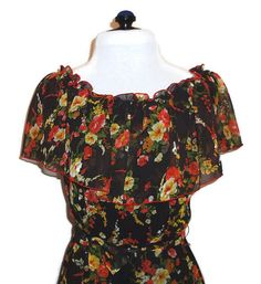 1970s Flower Print Summer Dress Party Dress by willynillyvintage