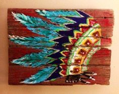 acrylic indian headress painting on canvas - Google Search