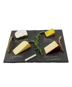Make it easy for your guests to choose their appetizers with this beautiful and functional cheese tray complete with hemp rope handles. Includes food-safe soapstone chalk.  Find the Slate & Soapstone Chalk, as seen in the Industrial Outdoor Living in the City Collection at http://dotandbo.com/collections/industrial-outdoor-living-in-the-city?utm_source=pinterest&utm_medium=organic&db_sku=TFS0006