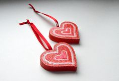 Valentines ornament Sweet Hearts hand painted wooden от LekaArt, $21.00