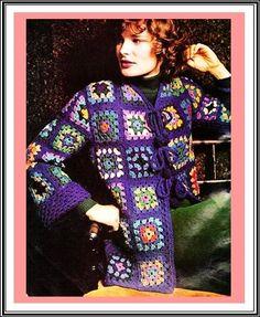 Crochet Pattern Granny Squares Jacket Wrap by GrandmaHadItGoinOn Campfire Cardigan Crochet Pattern, Crochet Beanie Pattern, Crochet Coat, Granny Square Crochet Pattern, Crochet Jacket, Crochet Patterns, Crochet Granny, Crochet Clothes, Vintage Knitting