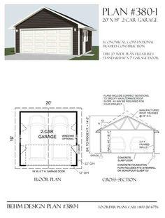 Two Car Garage Plan 380 1 20 X 19 By Behm Design Pole Barn