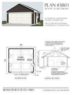 Two  Car Garage Plan 380-1  20' x 19' By Behm Design