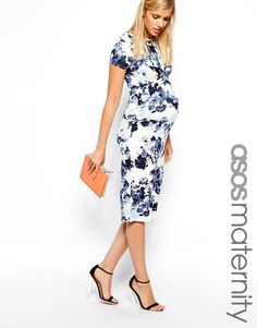 ASOS Maternity | ASOS Maternity Exclusive Bodycon Dress with Cross Front in Floral Print at ASOS