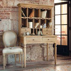 Solid elm writing desk W 108cm