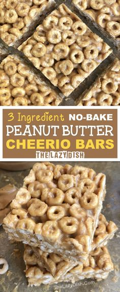No Bake 3 Ingredient Peanut Butter Cheerio Bars - A healthy snack or on the go treat made with honey, peanut butter and Cheerios! A quick and easy kids snack idea. Snacks recipes 3 Ingredient Peanut Butter Cheerio Bars - The Lazy Dish Easy Snacks For Kids, Healthy Snacks To Buy, Healthy Eating For Kids, Kids Fun, Healthy Sweets, Healthy Kid Recipes, Fun Food For Kids, Baking For Kids, Healthy Treats For Kids