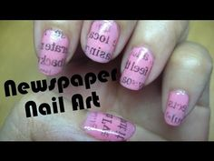 Newspaper Nail Art Tutorial. This is easy and fashionable