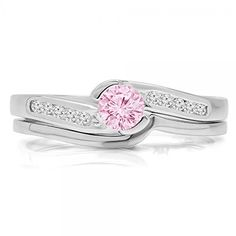 0.50 Carat (ctw) 14K White Gold Pink Sapphire & White Diamond Engagement Ring Set 1/2 CT (Size 7) DazzlingRock Collection http://www.amazon.com/dp/B00M853D7W/ref=cm_sw_r_pi_dp_VTqRub0TFH5M4