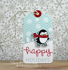 Lawn Fawn - Winter Penguin, Forest Border, Tag You're It, Silver Sparkle Lawn Trimmings _ tag by Tracey at In My Creative Opinion: 25 Days of Christmas Tags - Day 10