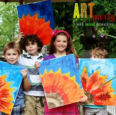 Ever heard of Social Artworking? It's the coolest and easiest way to host an art party. {This post is sponsored, but as always, all opinions are my own.} You worr. Painting For Kids, Art For Kids, Projects For Kids, Art Projects, Art Party Decorations, Social Artworking, Crayon Crafts, Art Birthday, Colorful Party