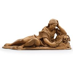 """FLEMISH, CIRCA 1700 """"MARY MAGDALENE"""" terracotta 25.5 by 60.5cm., 10 by 23¾in. Sotheby's"""