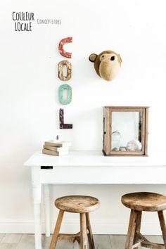 Beautiful Wooden Letters - animal head - www.couleurlocale.eu