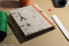Capa revestida em tecido 100% algodão, miolo com 160 páginas em papel reciclado sem pauta