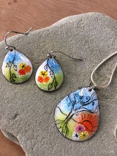 Enamel on Copper/Enamel Earrings/Enamel Pendant/Enamel