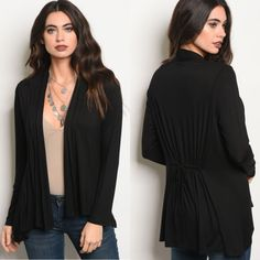 Black jersey knit cardy. Lightweight. Elastic gathered back. Faux drawstring.  These sold so fast at our trunk show!     Small fits 0/2.   Medium fits 4/6.   Large fits 8/10.   XL fits 12/14.         FREE US Shipping!!▪️ | Shop this product here: http://spreesy.com/theglamshackboutique/830 | Shop all of our products at http://spreesy.com/theglamshackboutique    | Pinterest selling powered by Spreesy.com