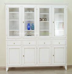 credenza | CR74 - Credenza con vetrina country laccata bianco avorio.