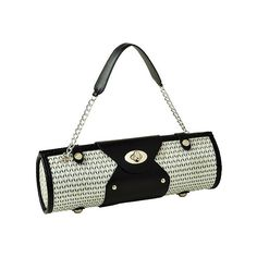 Women's Picnic at Ascot Wine Carrier/Purse - Black/White ($45) ❤ liked on Polyvore featuring bags, handbags, man bag, hand bags, evening bags, black white handbag and holiday purse