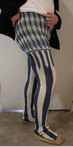 """Carole James:  """"My inspiration was this gondolier in a 1494 painting by Vittorio Carpaccio.  These are my latest version of 'sprang leggings', created for that presentation to the Early Textile Study Group.""""   http://sashweaver.com/blog/?p=712"""