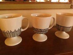 Sharpie paint pen on vintage ceramic espresso cups