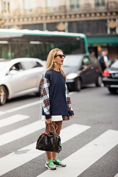 Stay stylish on busy days in a white and red and navy plaid casual dress. Want to go easy on the shoe front? Choose a pair of brown athletic shoes for the day.  Shop this look for $53:  http://lookastic.com/women/looks/white-and-red-and-navy-casual-dress-dark-brown-sunglasses-dark-brown-tote-bag-brown-athletic-shoes/2582  — White and Red and Navy Plaid Casual Dress  — Dark Brown Sunglasses  — Dark Brown Leather Tote Bag  — Brown Athletic Shoes