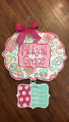 Paisley and Floral Door Hanger Baby Girl Hospital Door Hanger - Paisley Baby Name - Ideas of Paisley Baby Name - Please allow 4 weeks production time. Hospital Door Hangers, Baby Door Hangers, Wooden Door Hangers, Wooden Doors, Paisley, Door Signs, Baby Items, Baby Gifts, New Baby Products