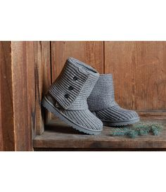 Grey:UGG® Classic Cardy Button Detailed Knit Boots