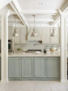 Laundry Island lighting Industrial Pendant Lights & two dif color cabinets
