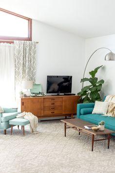 west elm - A Colorful Retro 1960s A-Frame Interior