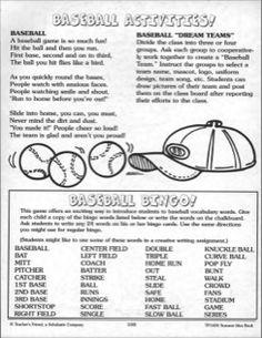 Baseball Activities!