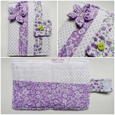 Carteira em tecido - Lilás Flor 2 - poá e floral