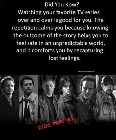 That's why I haven't watched anything new in months. : I've been rewatching spn-- which is awesome, but what does that say about my state of mind?