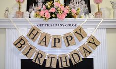 Antique Birthday Banner Rustic Decor Lace Unisex Sign