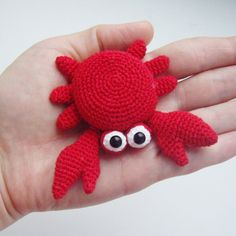 "PDF PATTERN Crochet amigurumi toy ""Little red crab"" step by step tutorial /OOAK home decor /kawaii brooch / magnet / pin for bag"