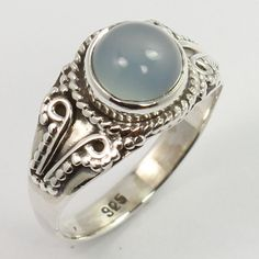 Handcrafted Ring Size US 6 Real CHALCEDONY Cabochon Gemstone 925 Sterling Silver #SunriseJewellers