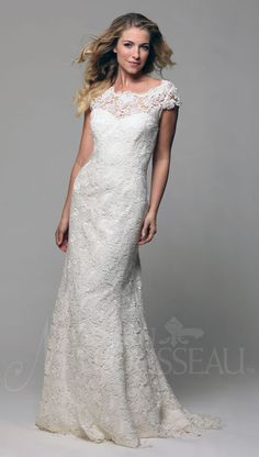 """Nilla"" by Modern Trousseau  Modest all lace gown is beautiful for an LDS Bride."