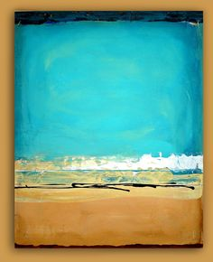 Turquoise,Tan Abstract Acrylic Large Painting Original Art Textured Fine Art on Gallery Canvas Titled: OCEAN & SAND 24x30x1.5""